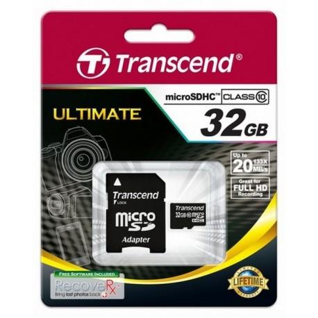 PAMIĘĆ microSD 32GB TRANSCEND CLASS 10 +ADAPTER